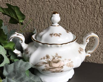 Sepia Rose Johann Haviland Sugar Bowl Bavaria Germany / Pink Roses Gray Flowers / Gold Gilt Trim / Vintage - R0078