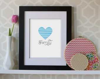 8x10 Print- Family Patchwork Heart **DIGITAL DOWNLOAD**