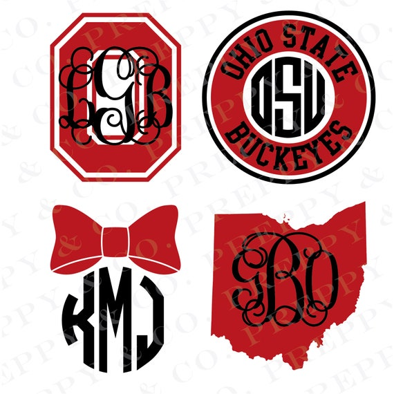 osu vinyl decal monogram ohio state sticker ohio state rh etsy com ohio state university logo font