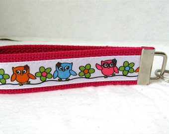 Owls Key Fob PINK Owls on a Branch Key Chain Wristlet