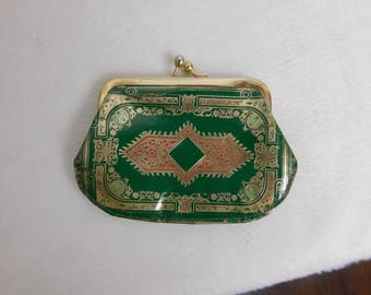 Vintage Mid Century Middle Eastern Indian Design Leather Change Purse Misc Box