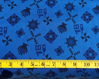 RJR Almost Amish Blue Quilt Blocks Cotton Fabric By the Yard