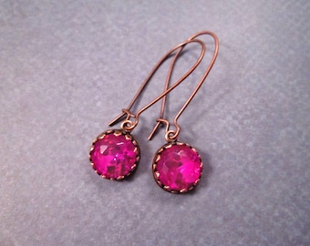 Rhinestone Earrings, Hot Pink Glass and Copper Dangle Earrings, FREE Shipping U.S.