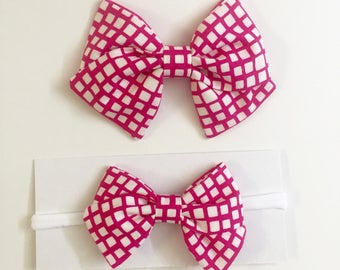 Hot Pink Squares Bow - clip or nylon elastic