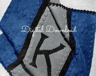 Crochet Monogram Afghan Pattern, Personalized, Baby Blanket Blankie, Afghan, Vintage 1940s, Tunisian Crochet, PDF Instant, Digital Download