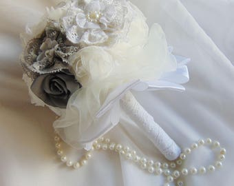 Silk Satin and lace flower bouquet