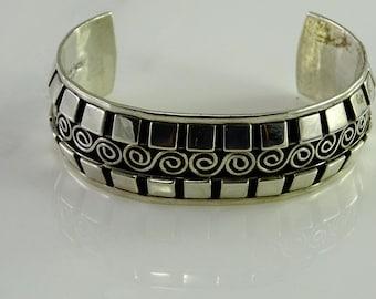 Sterling Silver Wide Cuff Bracelet