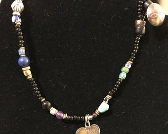 14 Inch Bead Necklace with Sterling Accents