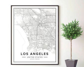 La Map, Los Angeles Map, Los Angeles Print, Los Angeles Map Art, Los Angeles Map Poster, Map Of La, Map Of Los Angeles, California Map, Pdf
