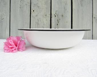 Vintage White Enamelware Bowl, Shallow White with Black Trim Metal Bowl, Vintage Rustic Kitchen Decor, Vintage French Country Decor