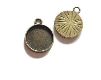 20 Antiqued Bronze 12mm Pendant Tray Cabochon Setting