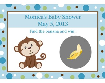24 Personalized Baby Shower Scratch Off Game Cards - Little Monkey