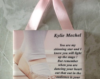 "Small 4"" Personalized Dance Recital Message Tile Gift For Ballet Dancer"