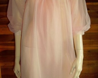 Vintage Lingerie Paul Adams Pink Chiffon Peignoir or Robe Small