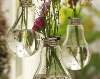 Set of 3 Vintage Flower Vases from Recycled Light Bulb, Wedding Decor, Hanging Light Bulbs, Cottage Chic, Outdoor or Rustic Decor