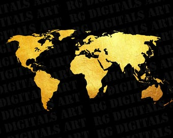 Vector world map etsy world map svg gold world map svg clipart silhouette gold world map gumiabroncs Gallery