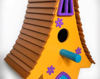 Personalised Whimsical Style Birdhouse/ Bird / Nesting Box - HandCrafted Wood