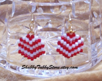 Red Striped Shield Earrings