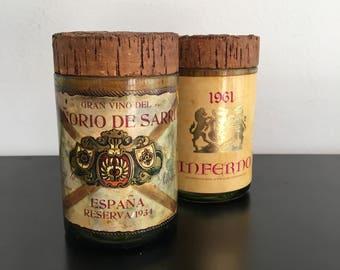 Vintage,Spanish,Wine Bottle Jars,Hand Made, Glass, Canisters,Re-purposed Wine Bottles,Wine Bottle Decor, Kitchen Decor,Glass Jars, Cork Lids