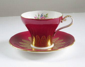 Vintage Red Tea Cup and Saucer by Aynsley
