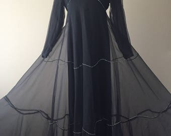 Vintage 70's Dress, Malcolm Starr Evening Gown, 1970's Black Chiffon Elinor Simmons for Malcolm Starr Gown, Silver Rhinestone Accents