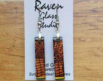 Fused  glass earrings,  glass jewelry, Fused glass dangle earrings, EA128