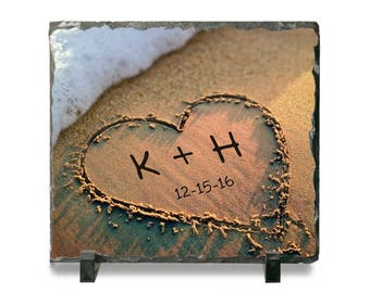 Heart in Sand Slate Stone Plaque