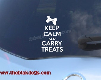 Keep Calm and Carry Treats - Vinyl Sticker Car Decal