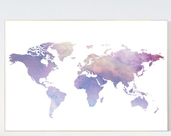 Items similar to pastel world map print nursery wall art babys world map poster pastel world map purple wall prints world map art gumiabroncs Image collections