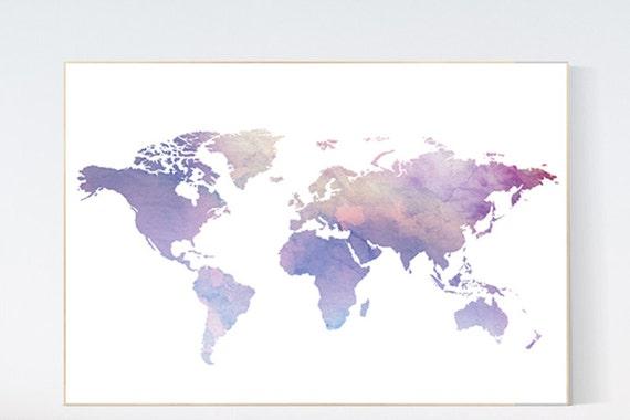 Affiche carte monde carte du monde Pastel impressions de mur