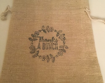Set of 25 thank you muslin stamped favor bags
