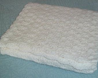 White Baby Blanket Throw Afghan Crochet Shell Stitch Car Seat Stroller Size Ready to Ship Shower Gift Lovie