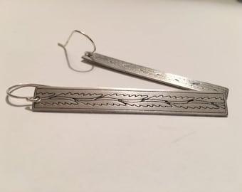 Fern leaf matchstick earrings