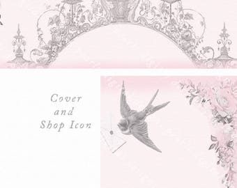 Pale Pink Garden, Cover and Shop Icon, Instant download, blank file, faded pink, vintage theme, pink gray, pink roses, bird with envelope