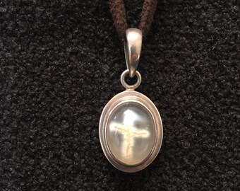 Necklace ~ Cross Agate, Sterling Silver on Suede Cording