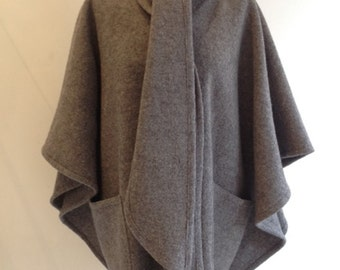 Grey pure boiled wool shawl poncho