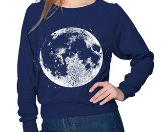 Womens FULL MOON Shirt/ Moon Sweater/ Moon Sweatshirt/ Bohemian Boho Yoga Top Long Sleeve American Apparel S M L  more Colors