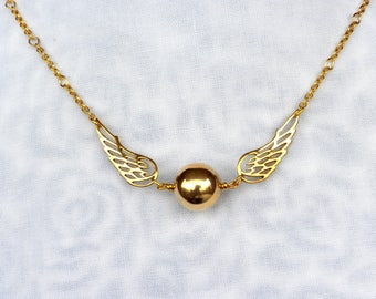 Harry Potter Jewelry Snitch Necklace Sterling Silver Gold Plated