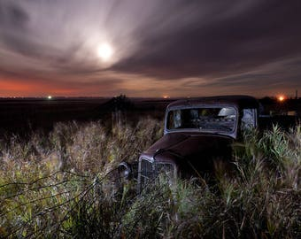 Ford Truck, Vintage Ford, Old Ford Truck, Rusty Ford Truck, Rural Landscape, Abandoned Farm, Abandoned Truck, Night Sky