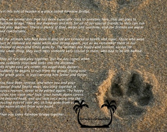 Rainbow Bridge Paw Print in the Sand 5x7 5 x 7 Printed fine art photo