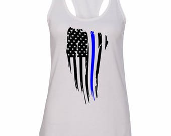 Thin Blue Line Racerback tank top shirt - Women's Tank Shirt - American Flag Blue Line - Police Support - Law Enforcement