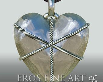 Herzanhänger Boundet Heart - extravaganter Silberanhänger, Bondageanhänger, Herzanhänger, Bondage, BDSM, Liebe, Partnerschmuck, Erotik