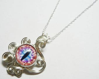 Glass Dragon Eye Pendant - Wire Wrap Pink Purple Eyeball with Sterling Silver Necklace Option