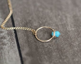 Turquoise Necklace in Gold , Rose Gold , Sterling Silver , Genuine Arizona Turquoise Hoop , Modern Fashion - Turquoise Caged Necklace