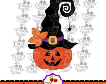 Jack O Lantern with Witch Hat SVG DXF,Halloween Silhouette and Cricut Cut Files DIGIHL25 -Personal and Commercial Use