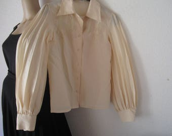Vintage 70s Pleats Blouse pleated blouse with lace s