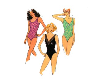 90s Kwik Sew 2116 Women's Bodysuits with Neckline Variations and Snap Closure at Crotch, Uncut, F/Folded, Sewing Pattern Multi Size XS-L