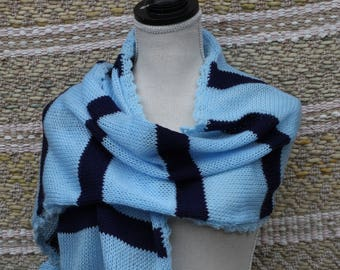 Striped thick knit wrap, Navy and Blue Wrap, Scarf