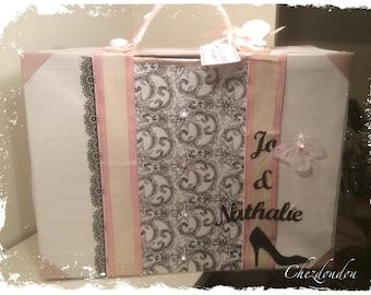 """urn shaped suitcase """"Orchidée"""" romantic vintage wedding"""