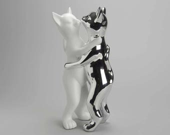 "Statue of couple of cats "" Dancers "", for decoration, height 14,1 inches"